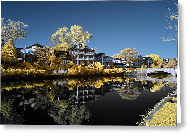 Reflections On Wesley Lake Greeting Card by Paul Seymour