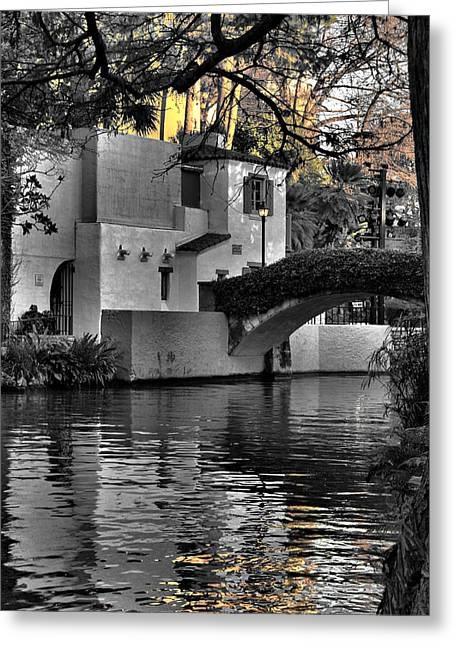Reflections Under The Bridge Greeting Card by Greg Sharpe