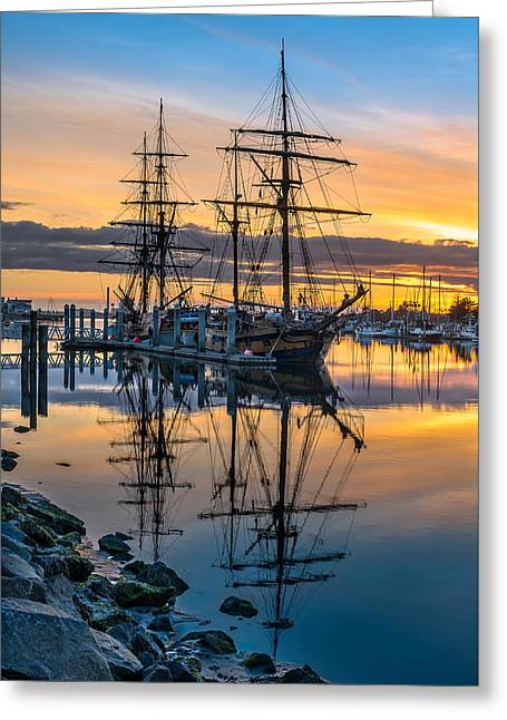 Reflectons On Sailing Ships Greeting Card by Greg Nyquist