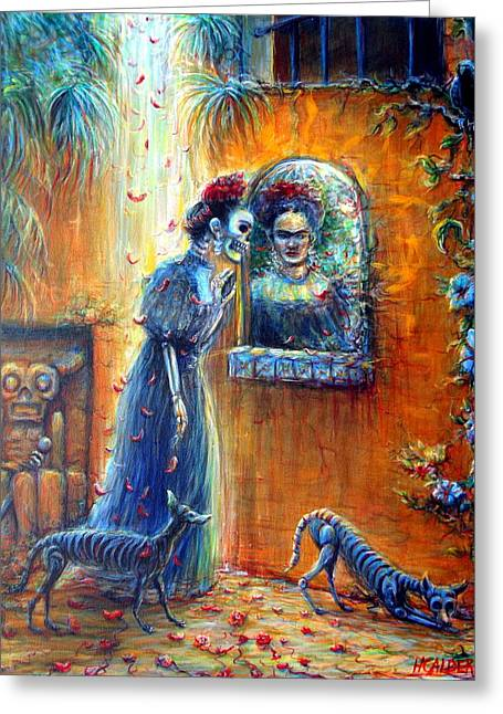 Greeting Card featuring the painting Reflejo De Frida by Heather Calderon