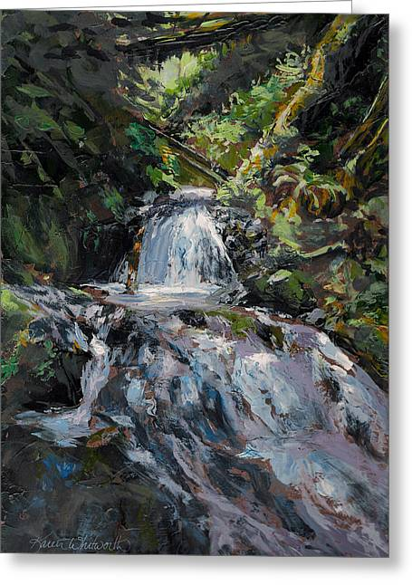 Refreshed - Rainforest Waterfall Impressionistic Painting Greeting Card by Karen Whitworth