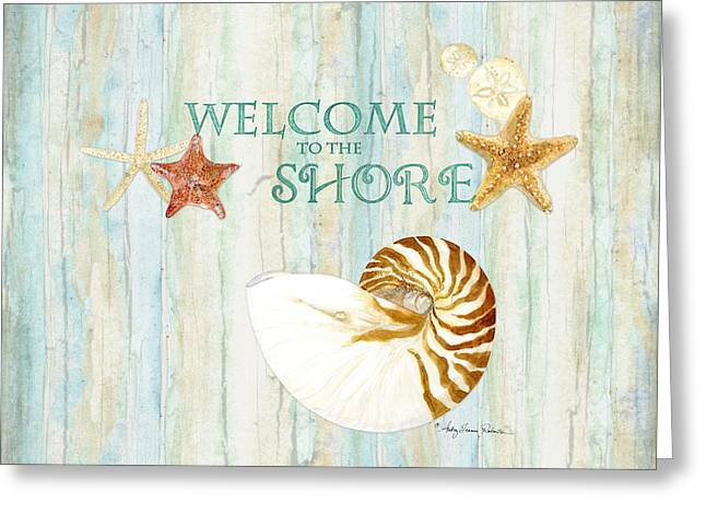 Refreshing Shores - Lighthouse Starfish Nautilus Sand Dollars Over Driftwood Background Greeting Card