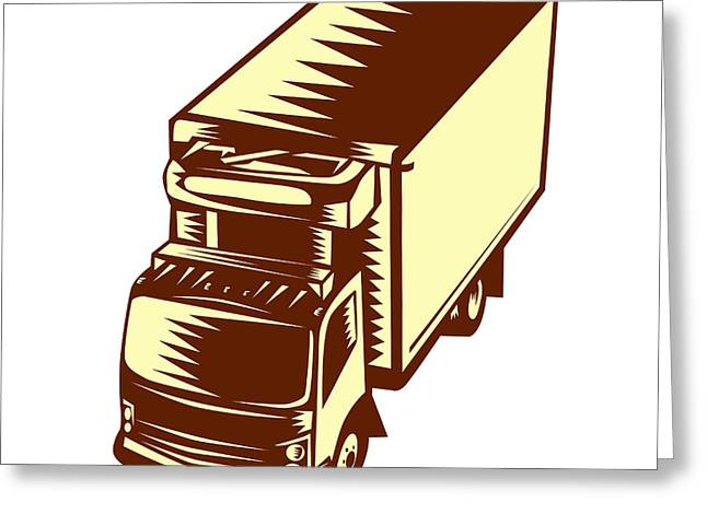 Refrigerated Truck Woodcut Greeting Card by Aloysius Patrimonio