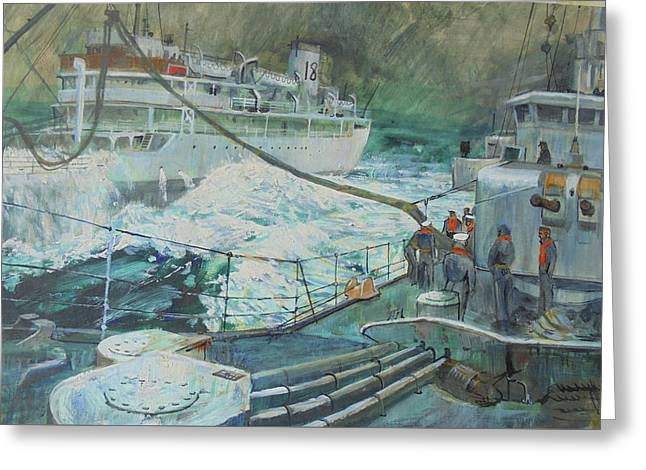 Greeting Card featuring the painting Refuelling At Sea. by Mike Jeffries