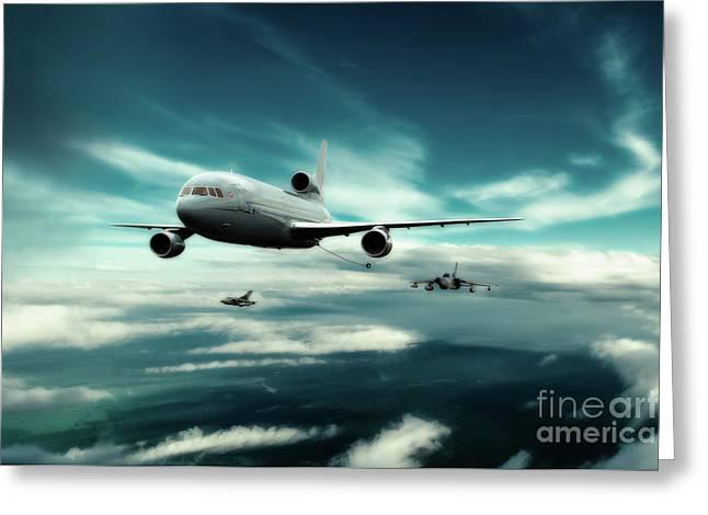 Refuelling Spartan Flight Greeting Card by J Biggadike