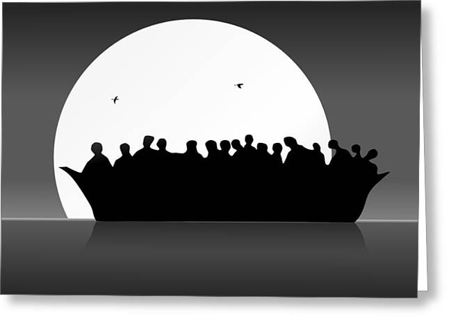Refugees Boat Greeting Card by Robert De Monos