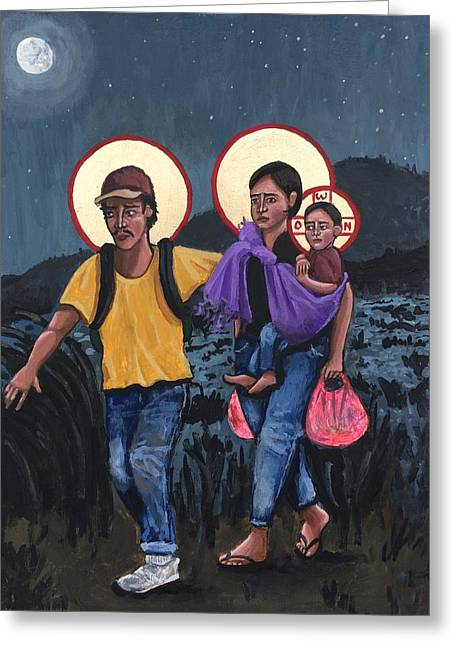 Refugees La Sagrada Familia Greeting Card by Kelly Latimore