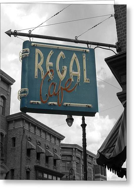 Regal Cafe Greeting Card by Audrey Venute