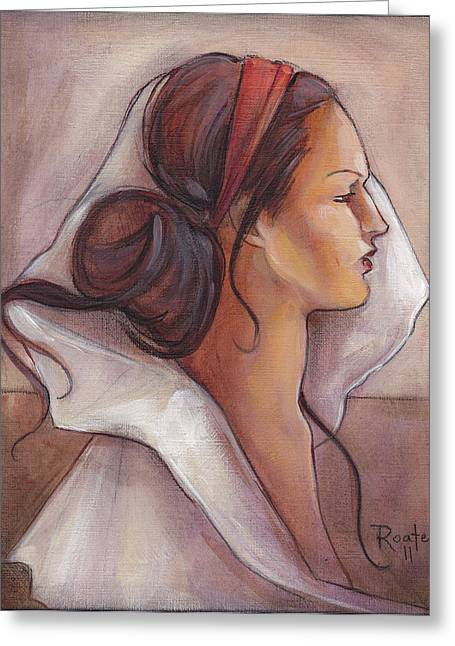 Woman Head Paintings Greeting Cards - Regal Greeting Card by Jacque Hudson