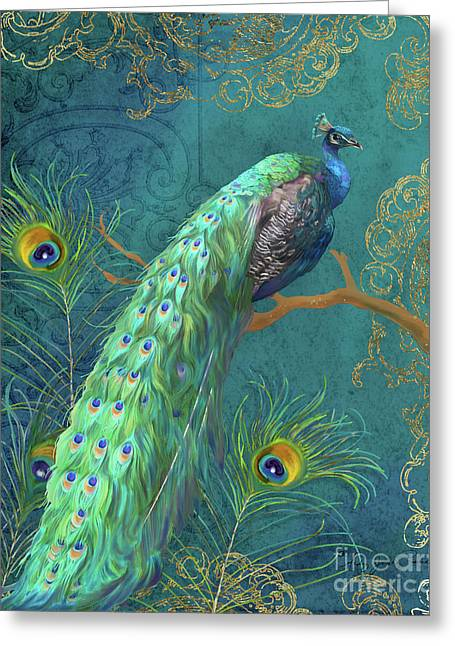 Greeting Card featuring the painting Regal Peacock 3 Midnight by Audrey Jeanne Roberts