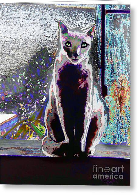 Regal Puss Greeting Card by Expressionistart studio Priscilla Batzell