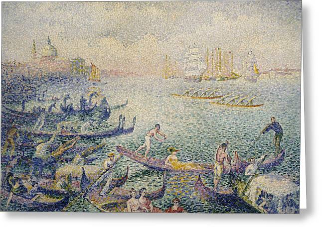 Regatta In Venice Greeting Card by Henri-Edmond Cross