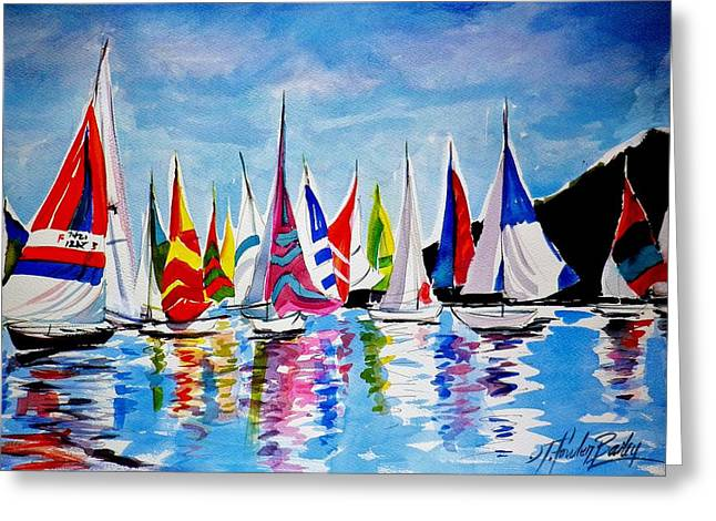Regatta On Lake Almanor Greeting Card by Therese Fowler-Bailey