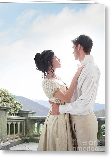 Regency Couple Embracing On The Terrace Greeting Card