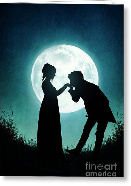 Greeting Card featuring the photograph Regency Couple Silhouetted By The Full Moon by Lee Avison