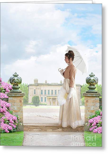 Regency Woman In The Grounds Of A Historic Mansion Greeting Card