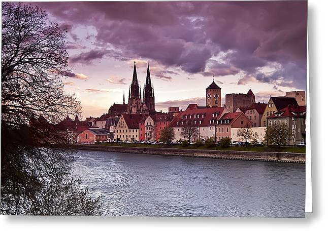 Regensburg Old Town From Stadtamhof Greeting Card by Giuseppe Maria Galasso