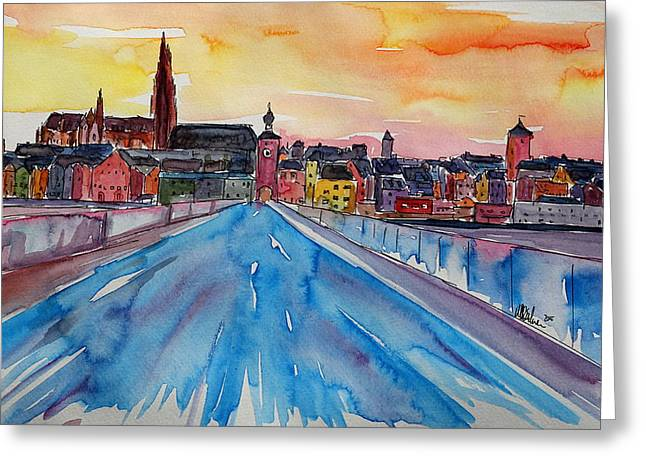 Regensburg Pearl On Danube Germany Greeting Card by M Bleichner