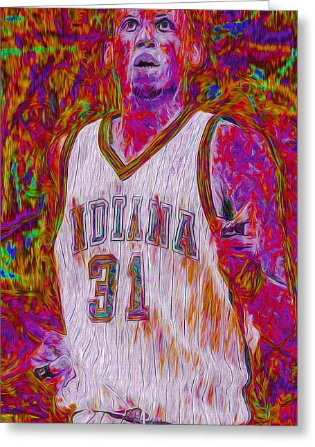 Reggie Miller Nba Basketball Indiana Pacers Painted Digitally Greeting Card by David Haskett
