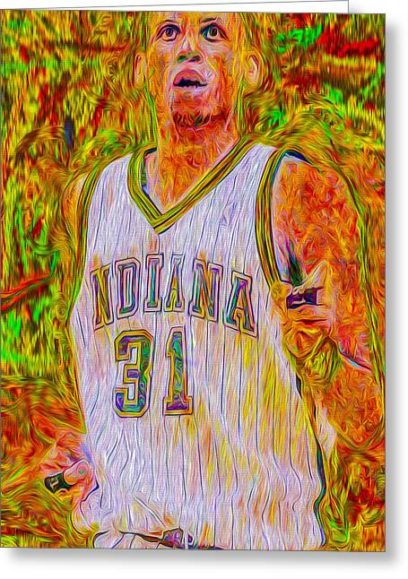 Reggie Miller Nba Indiana Pacers Basketball Digitally Painted Greeting Card by David Haskett