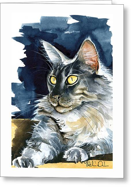 Regina - Maine Coon Painting Greeting Card