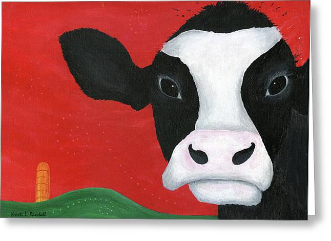 Regina The Happy Cow Greeting Card by Kristi L Randall