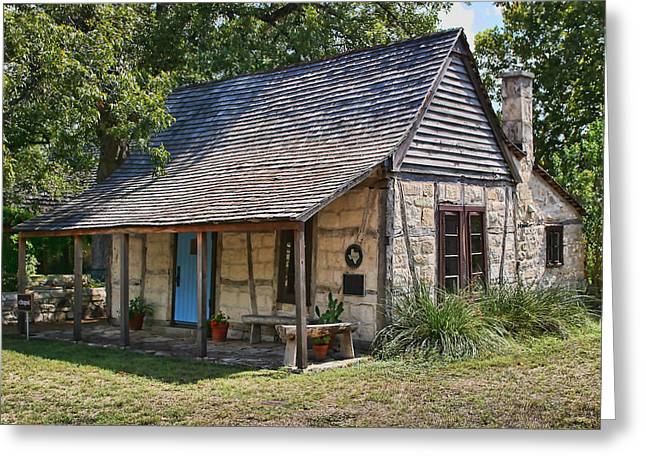 Registered Early Texas Dwelling Greeting Card by Linda Phelps