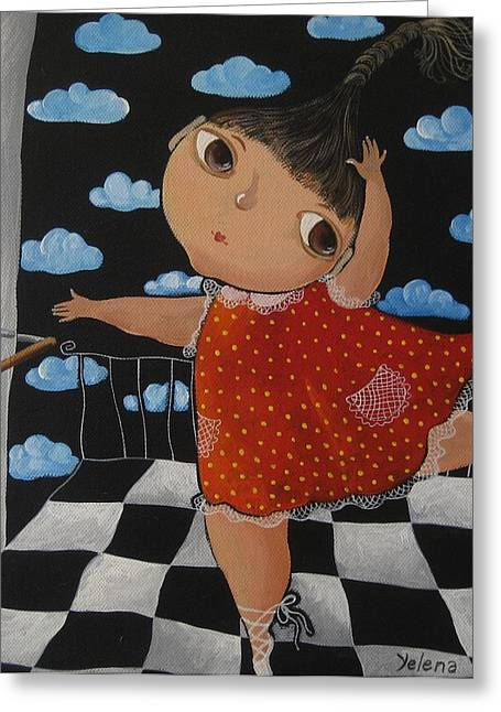 Girl And Animals Framed Prints Greeting Cards - Rehearsal Greeting Card by Yelena Dyumin