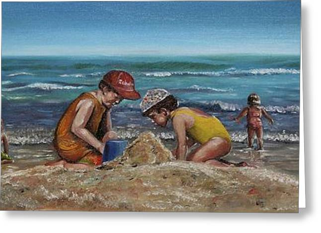 Sand Castles Paintings Greeting Cards - Rehoboth Beach Delaware Greeting Card by Joyce Lapp