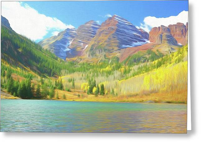 Greeting Card featuring the photograph The Maroon Bells Reimagined 1 by Eric Glaser