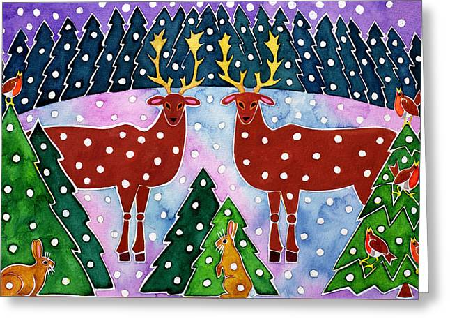 Reindeer And Rabbits Greeting Card