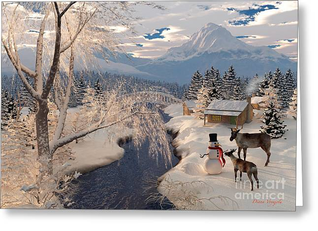 Reindeer And The Snowman Greeting Card