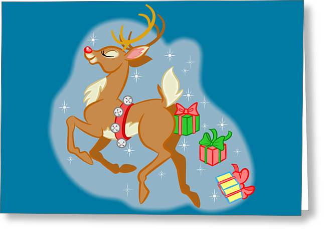 Greeting Card featuring the digital art Reindeer Gifts by J L Meadows