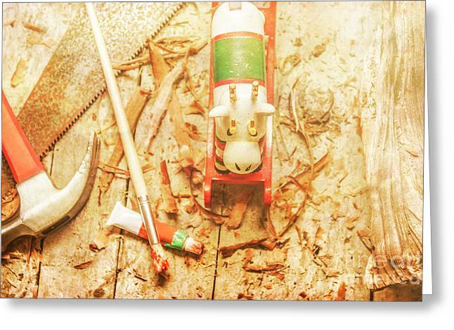 Reindeer With Tools And Wood Shavings Greeting Card