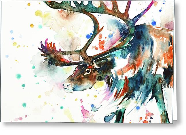 Reindeer Greeting Card by Zaira Dzhaubaeva