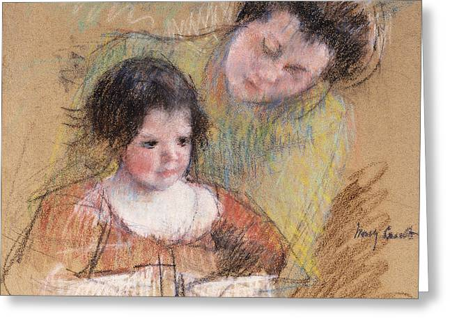 Reine Leaning Over Margot's Shoulder Greeting Card