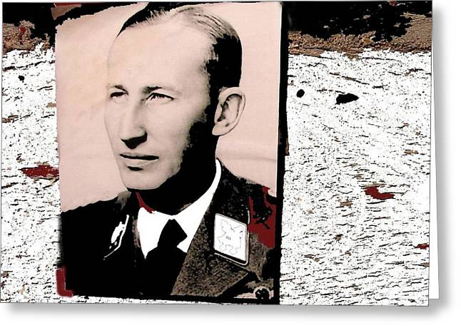 Reinhard Heydrich  Portrait Inserted Circa 1940 Color Added 2016 Greeting Card by David Lee Guss