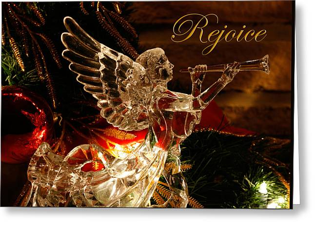 Rejoice Crystal Angel Greeting Card by Denise Beverly