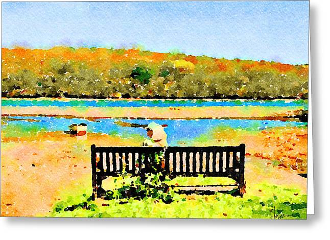 Greeting Card featuring the painting Relax Down By The River by Angela Treat Lyon