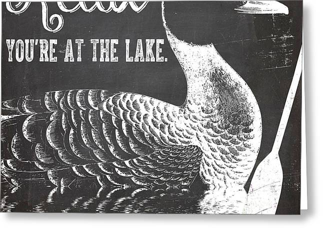 Relax Lake House Duck Sign Greeting Card