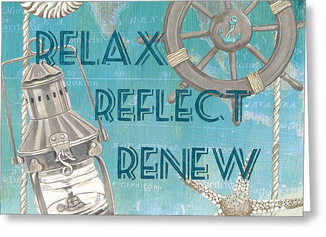 Relax Reflect Renew Greeting Card by Debbie DeWitt