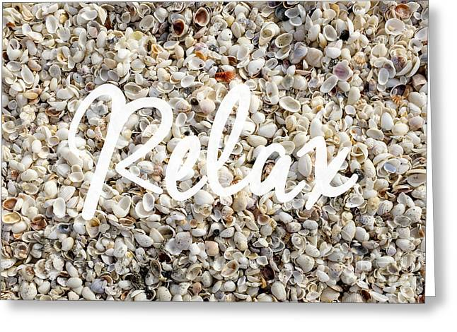 Relax Seashell Background Greeting Card by Edward Fielding