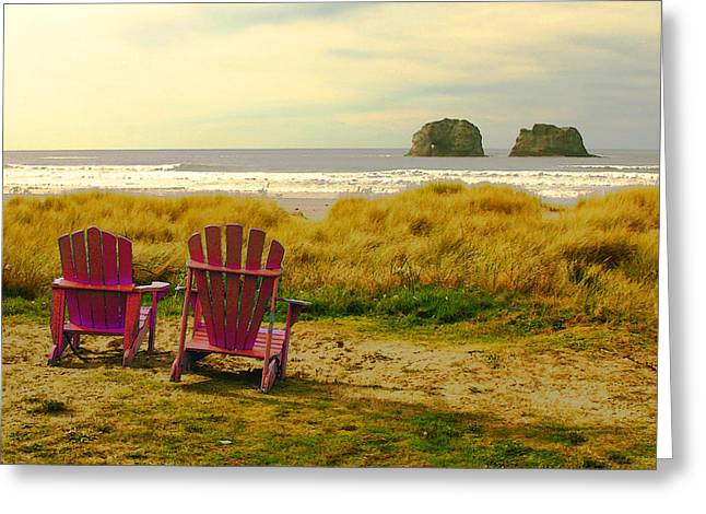 Relaxing At Rockaway Beach And Twin Rocks Greeting Card by Margaret Hood