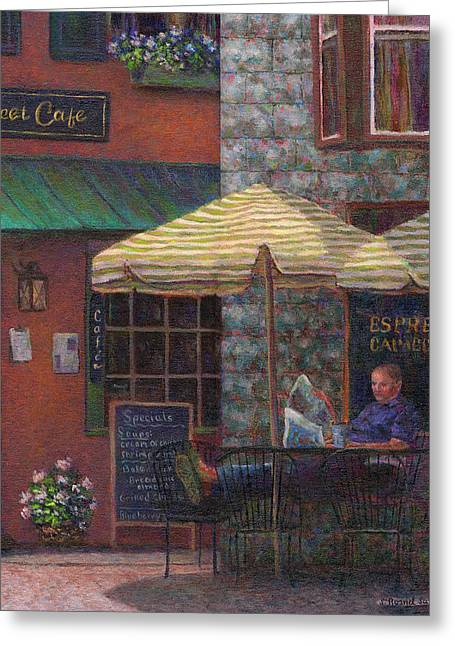 Relaxing At The Cafe Greeting Card by Susan Savad