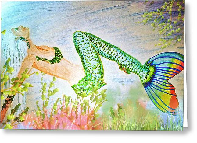 Mermaid Relaxing In The Shallows Greeting Card