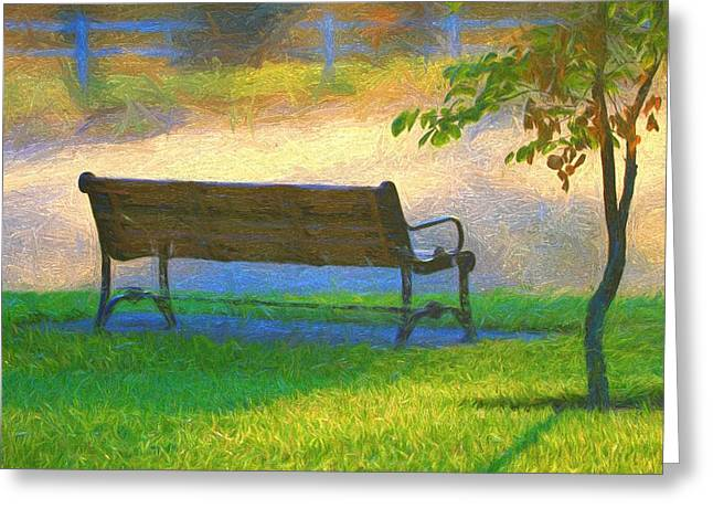 Relaxing Morning Country Scene Greeting Card by Dan Sproul