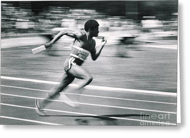 Relay Runner Greeting Card by Jim Wright
