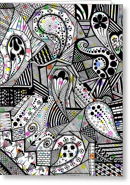 Drop Drawings Greeting Cards - Released but Still Trapped Greeting Card by Laree Alexander