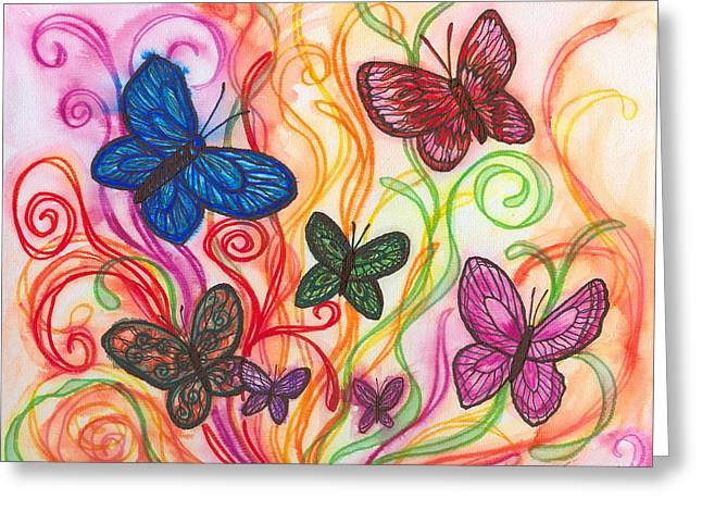 Releasing Butterflies I Greeting Card by Denise Hoag