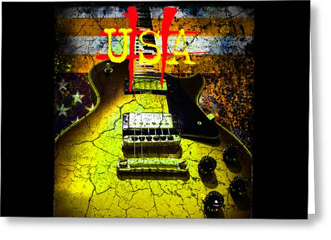 Greeting Card featuring the photograph Relic Guitar Music Patriotic Usa Flag by Guitar Wacky